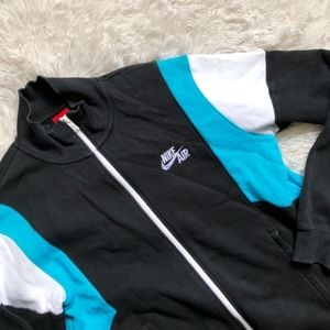 NIKE AIR MEN black,white+ turquoise zip up sweater